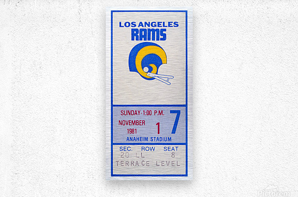 1981 Los Angeles Rams Ticket Stub Art  Metal print