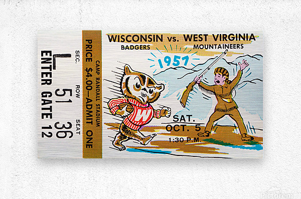 1957 Wisconsin vs. West Virginia Ticket Stub Art  Metal print