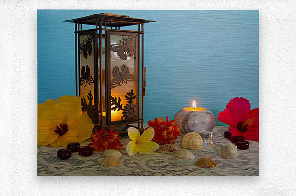 Candles and Flowers  Metal print