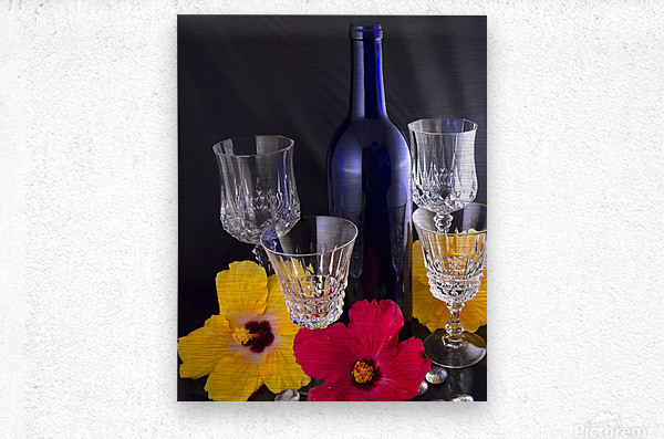 Blue Wine Bottle With Crystal and Tropical Flowers  Metal print