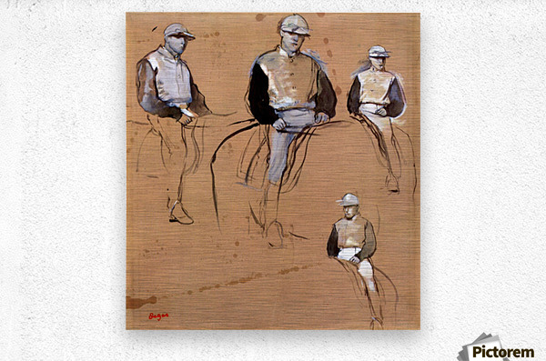 Study with four jockeys by Degas  Metal print