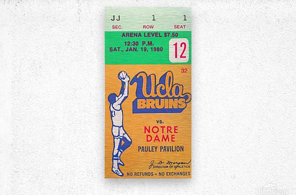 1980 UCLA Bruins Basketball Ticket Stub  Art  Metal print