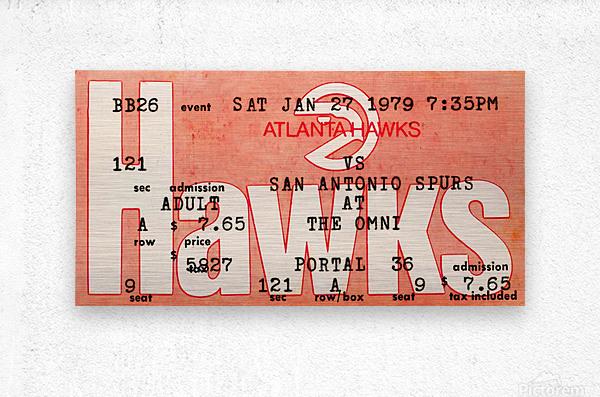1979 Atlanta Hawks Ticket Stub Art  Metal print