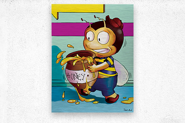 Be Careful with the Honey Buster Bee  Metal print