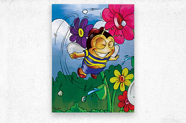 Happiness - Flower Power Buster Bee  Metal print