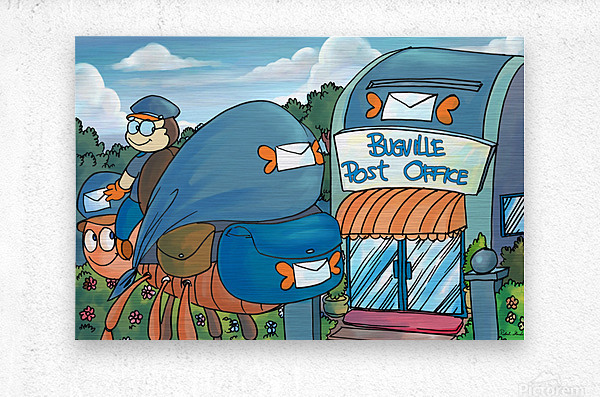 At the Post Office - Places in Bugville Collection 1 of 4  Metal print