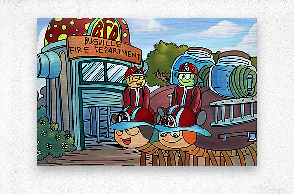 At the Fire Department - Places in Bugville Collection 2 of 4  Metal print