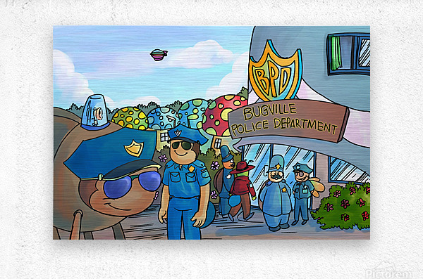 At the Police Department - Places in Bugville Collection 3 of 4  Metal print