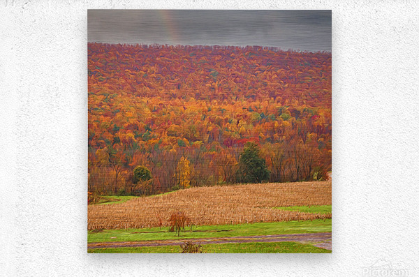 Painted Fall In The Mountains  Metal print