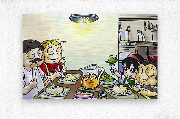 Dinner Time at the Bee House with the Family  Metal print