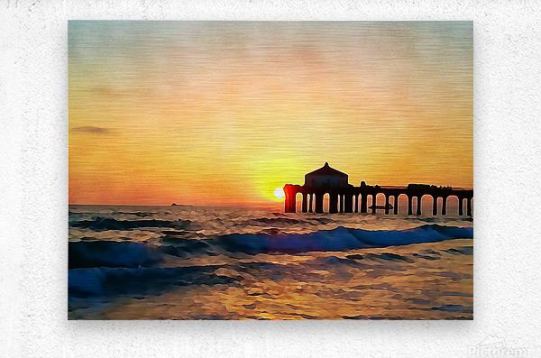 manhattan beach sunset wall art  Metal print