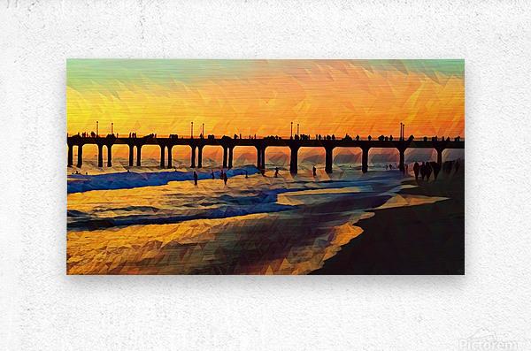 manhattan beach sunset art  Metal print