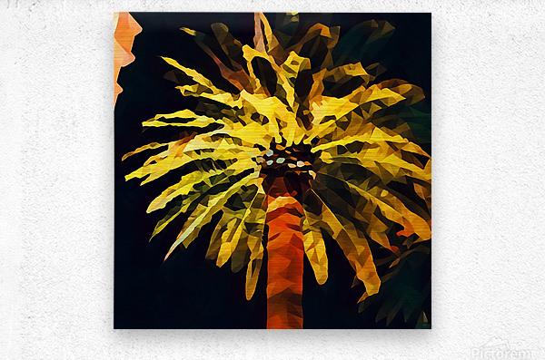 las vegas palm tree at night  Metal print