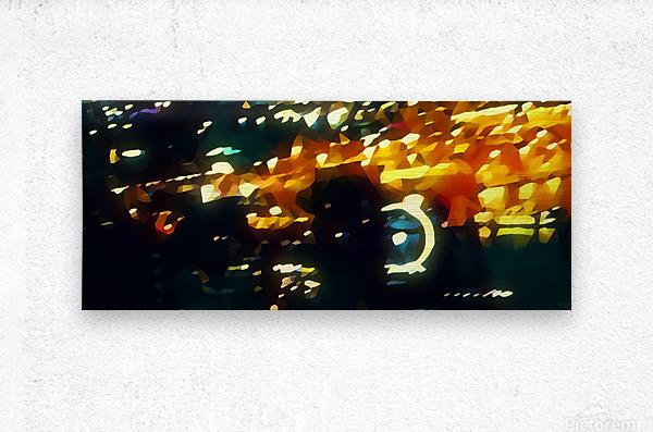 seattle at night great wheel  Metal print