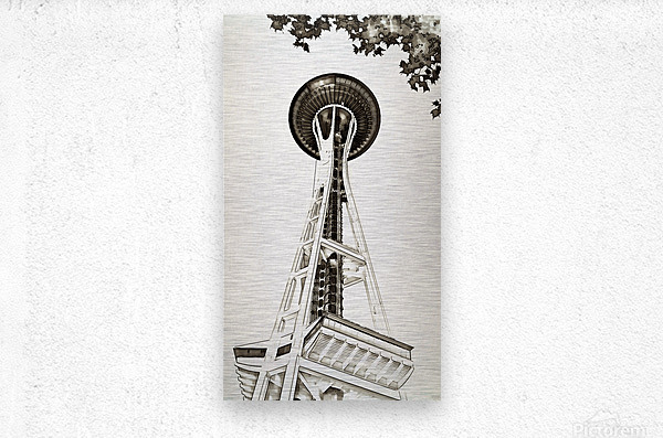 black white seattle space needle art  Metal print