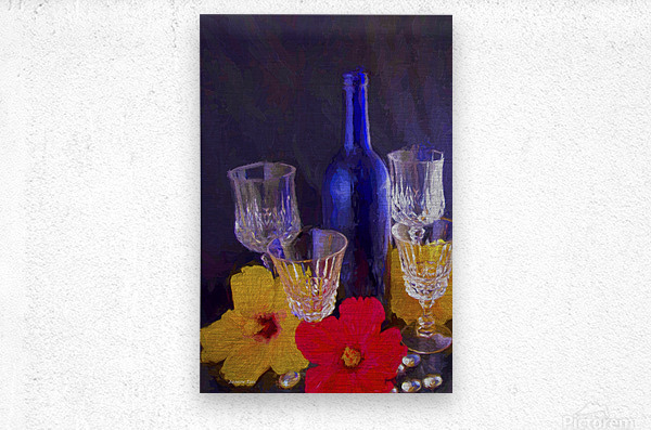 Painterly Blue Wine Bottle with four Crystal and Tropical Flowers  Metal print