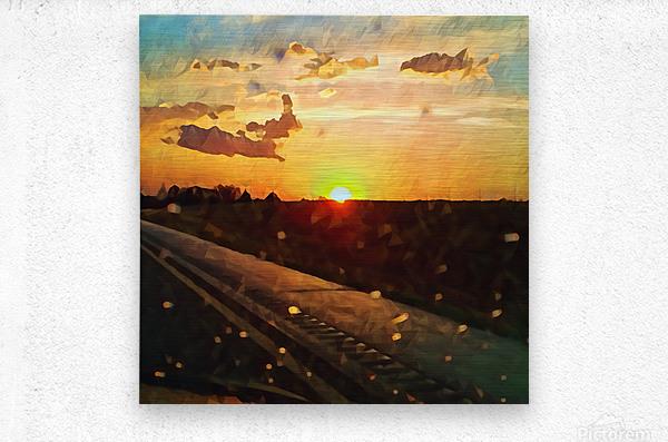 windshield raindrops two  Metal print