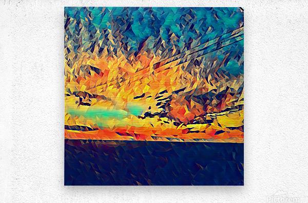 sky wires  Metal print
