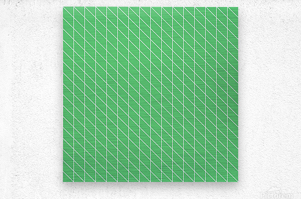 Green Color Checkers Pattern  Metal print