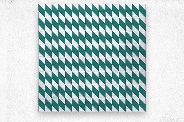 Dark Green Checkers Pattern  Metal print