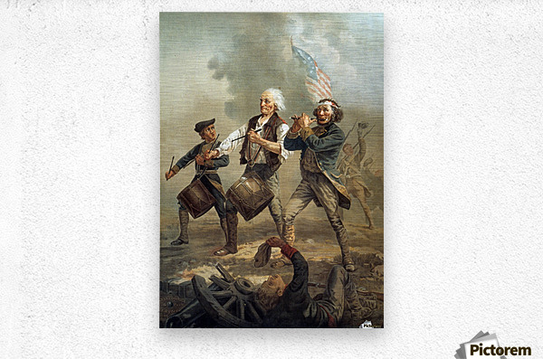 A painting of three men marching through a battle scene  Metal print
