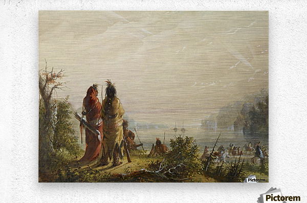Indians Threatening to Attack Fur Boats  Metal print