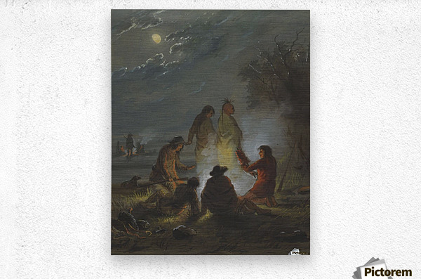 Camp Fire, Preparing the Evening Meal  Metal print