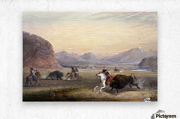 Buffalo Hunting, near Independence Rock  Metal print