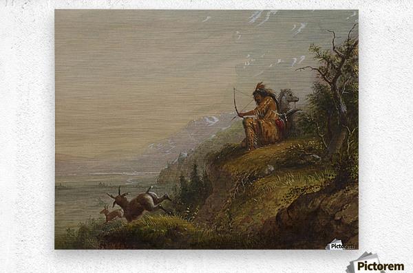 A Pawnee Indian shooting antelopes  Impression metal