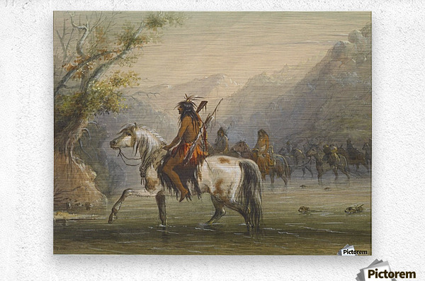 Shoshone Indians - Fording a River  Metal print