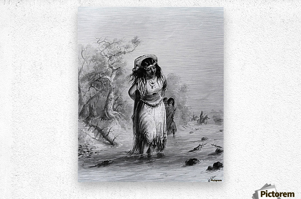 Indian Girl with Papoose Crossing  Metal print