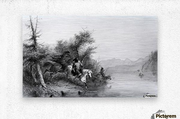 Snake Indians - Fording a River  Metal print
