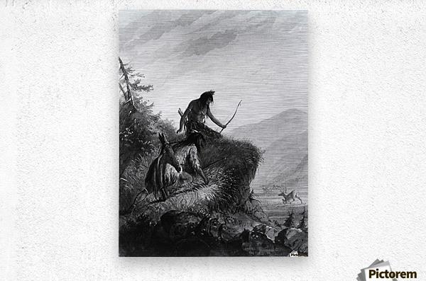 Snake Indians Shooting Elk  Metal print