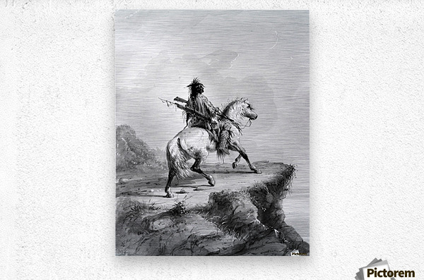Crow Indian on the Lookout  Metal print