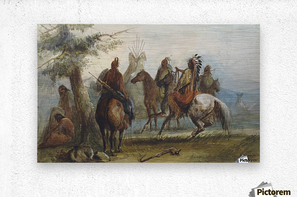 Sioux setting out on an expedition to capture wild horses  Metal print