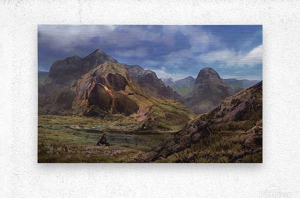 Landscape with giant skull  Metal print