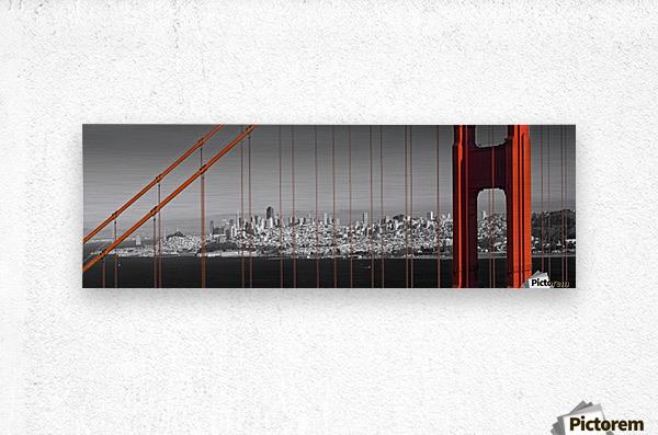 Golden Gate Bridge Panoramic Downtown View  Metal print