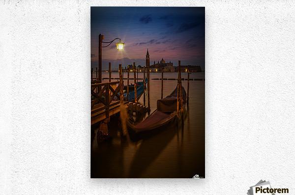 VENICE Gondolas during Blue Hour  Metal print