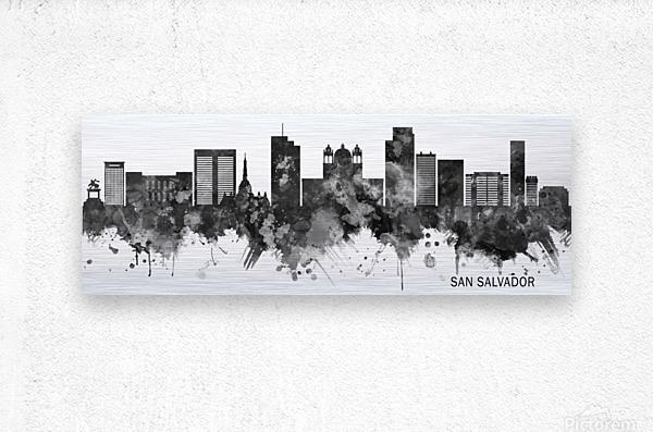San Salvador Skyline BW  Metal print