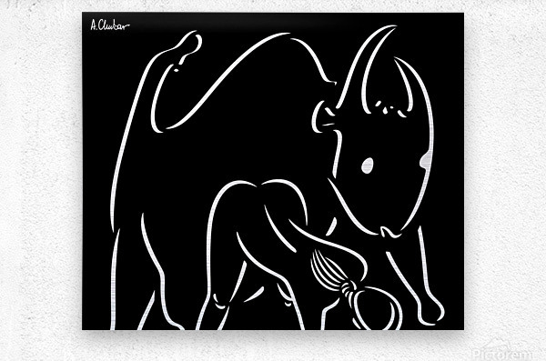 Pasiphae and the Bull  Metal print