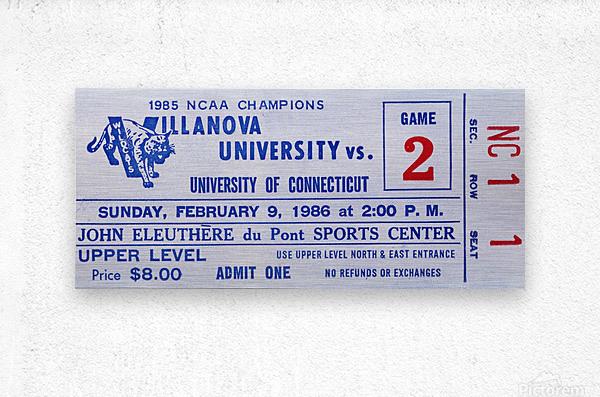 1986 Villanova vs. Connecticut Basketball Ticket Canvas  Metal print