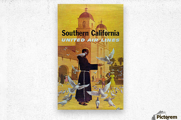 United Air Lines Southern California Monk  Metal print