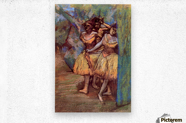 Three dancers behind the scenes by Degas  Metal print