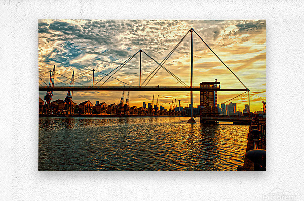 Amazing Sunset over river  Metal print