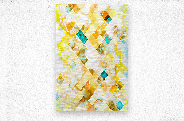 geometric pixel square pattern abstract in yellow brown blue  Metal print