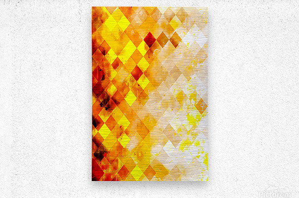 geometric pixel square pattern abstract in brown and yellow  Metal print
