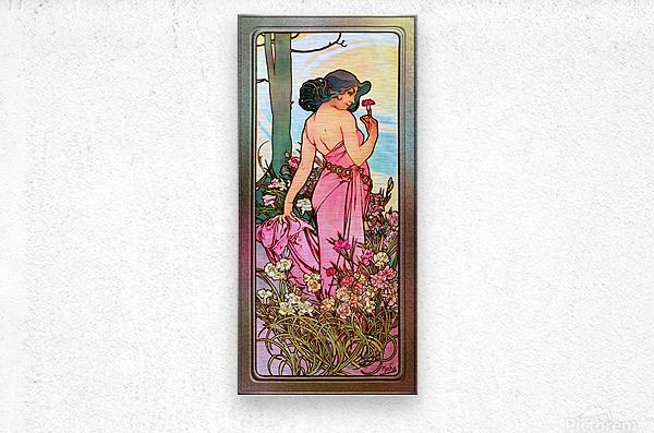 Carnation Art Nouveau Portrait by Alphonse Mucha Vintage Old Masters Art Nouveau Reproduction  Metal print
