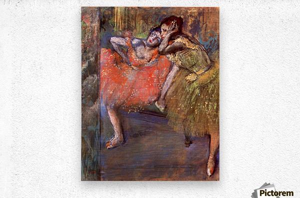 Two dancers behind the scenes by Degas  Metal print