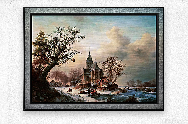 Winter Landscape with Activities by a Village by Frederik Marinus Kruseman Old Masters Classical Fine Art Reproduction  Metal print
