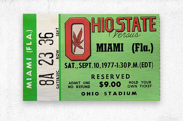 1977 Miami Hurricanes vs. Ohio State Football Ticket Canvas  Metal print